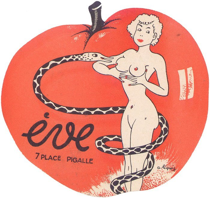 RARE 40s French Program-Nude w/Snake-Pigalle Montmartre