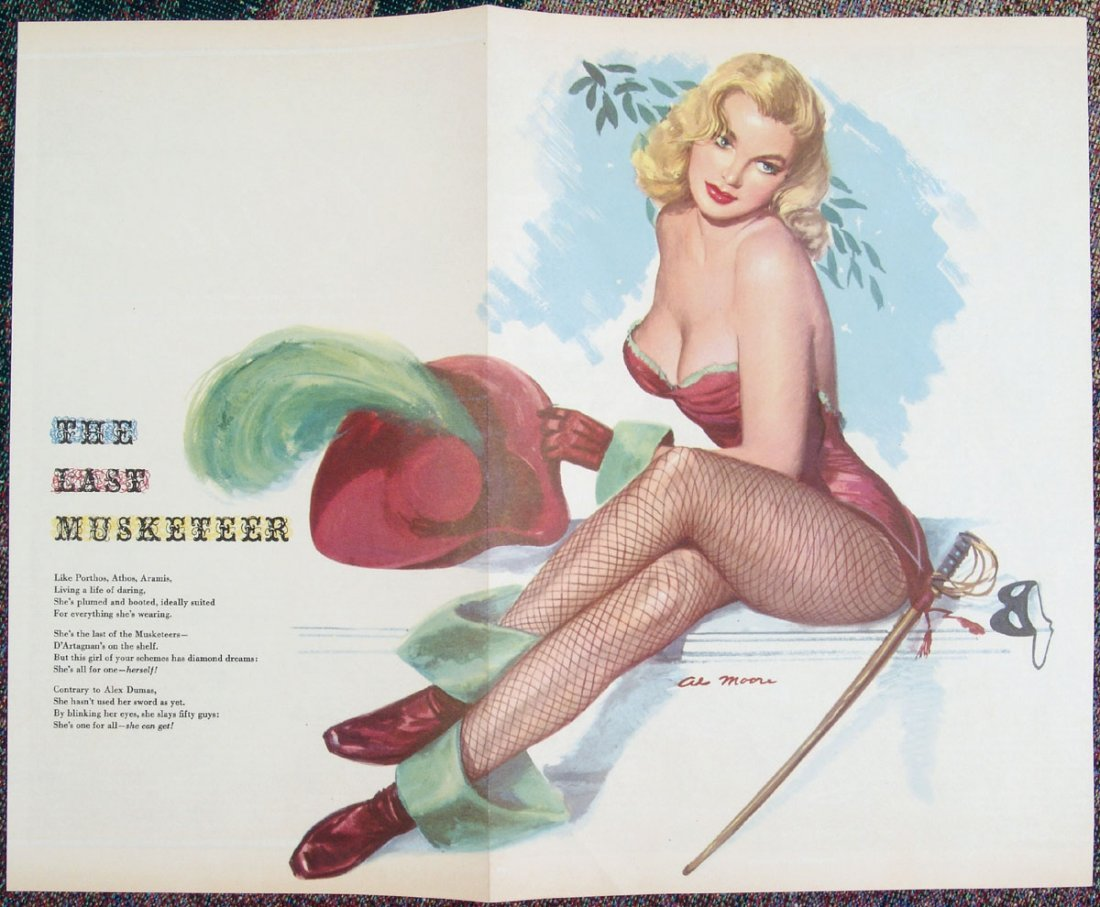 1940s WWII MOORE Pin-Up - Risque Blonde Musketeer