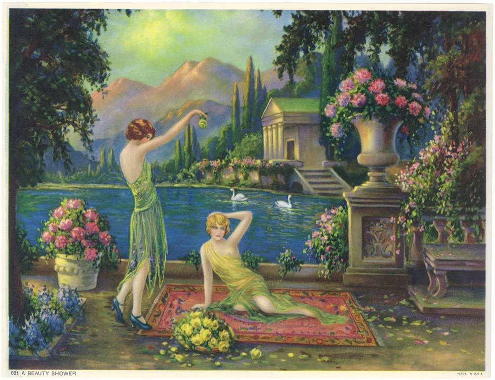 Vtg 1930s Art Deco Print-Goddess Girls-Italian Villa
