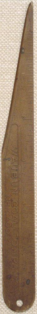 Antique 19C Brass Ruler-WAUBUN Coal Company Chicago