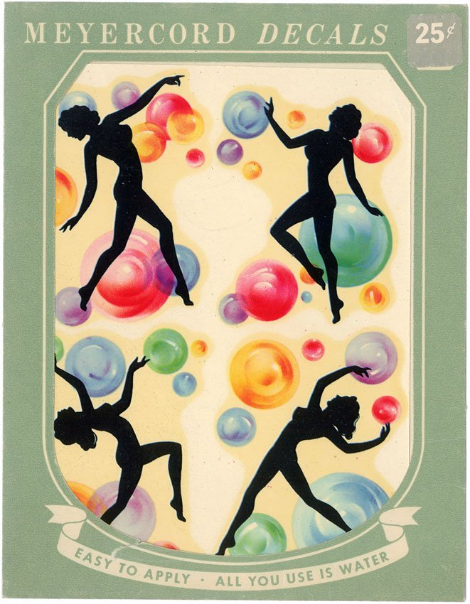 1940s Girlie Decals - Nudes Dancing with Bubbles