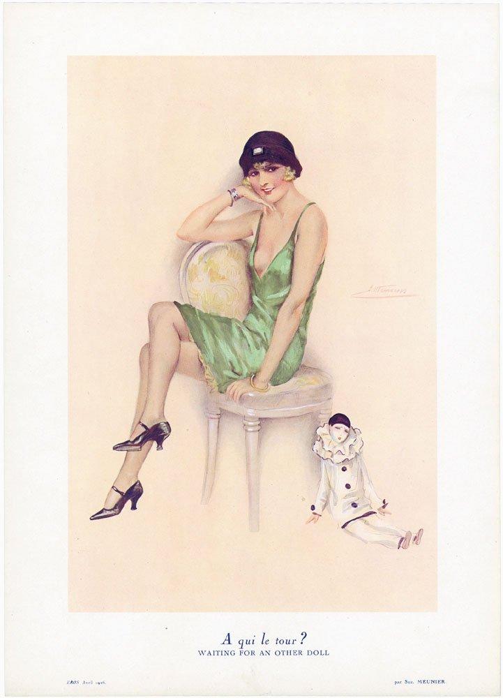 1920s Art Deco French EROS Print-Meunier-Risque Flapper