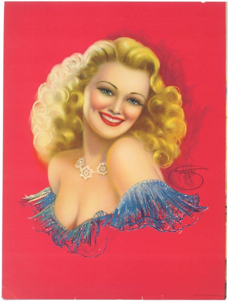 1940s Pin-Up Print-DEVORSS-Sexy Risque Blonde-Striking