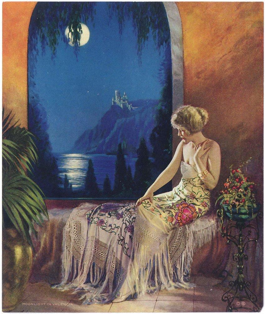 Rare 1930s Art Deco Girl Print-MOONLIGHT IN VALENCIA