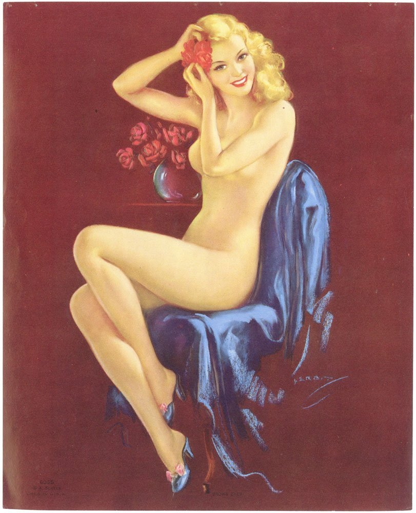 Old WWII Pin-Up ERBIT Full Nude Blonde - Embossed