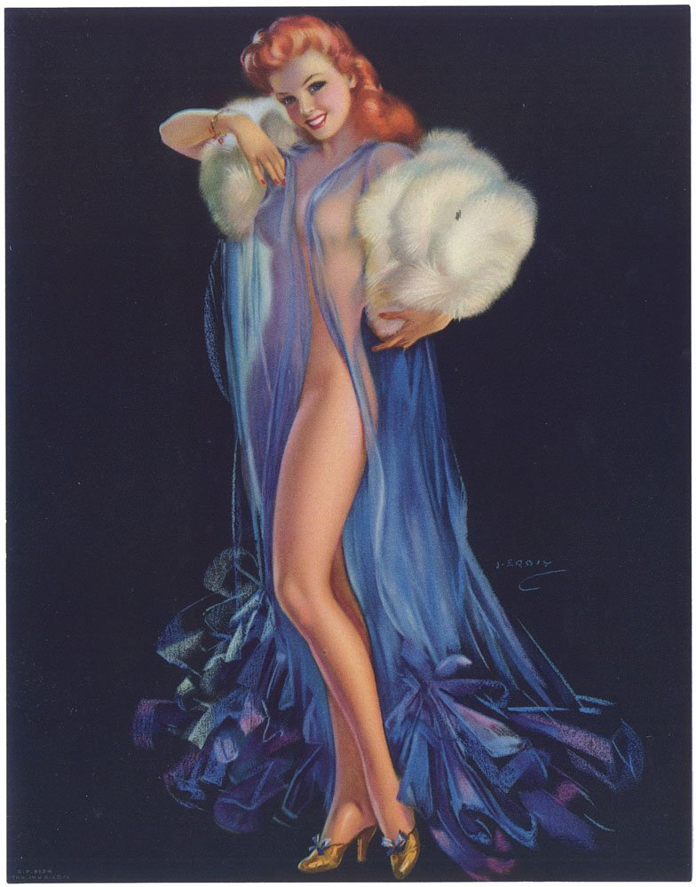 Old WWII Pin-Up ERBIT Nude Redhead TITIAN TEMPTRESS