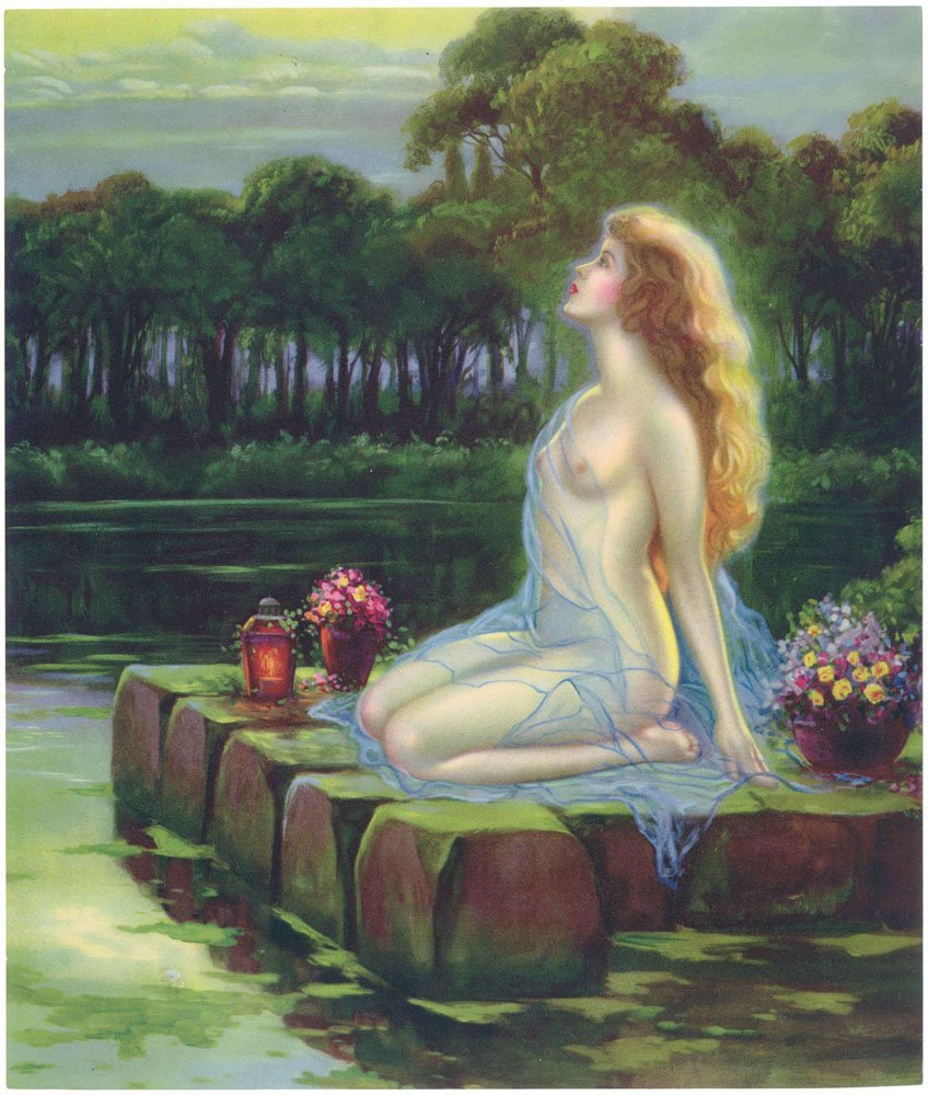 Rare c1910 Print - Ethereal Nude Nymph by Water