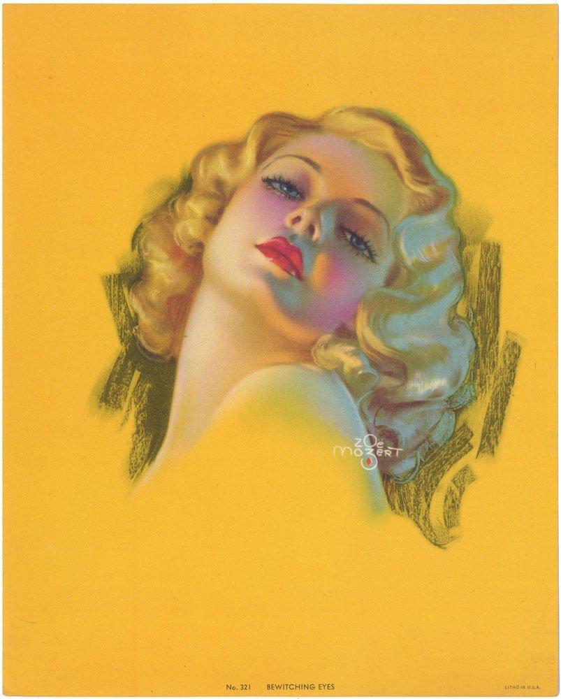Old Pinup-MOZERT-Deco Glamorous Girl-Bewitching Eyes