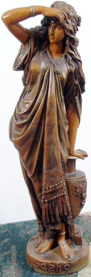 "Beautiful Antique c1890 33"" Sapho/Sappho Plaster Statue"