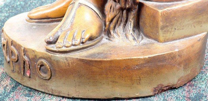 "Beautiful Antique c1890 33"" Sapho/Sappho Plaster Statue - 2"
