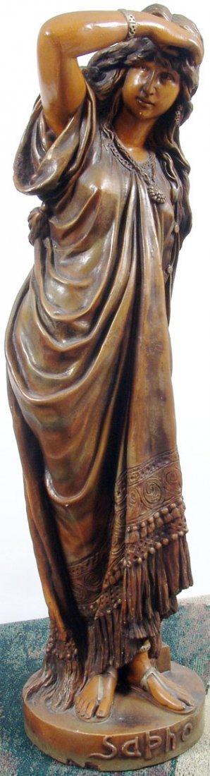 "Beautiful Antique c1890 33"" Sapho/Sappho Plaster Statue - 3"