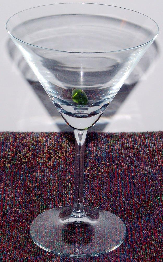 Eight NIB Viol Glass Martini Glasses w/Glass Olives
