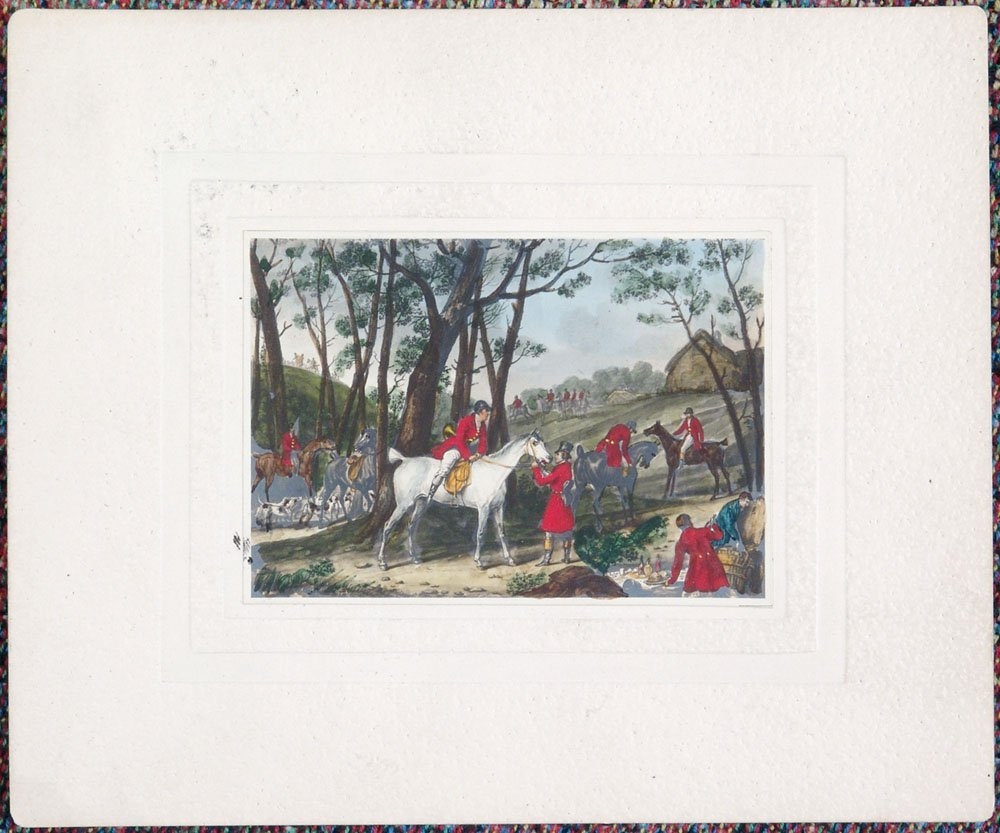 Two Old Watercolor Paintings-English Hunt-Horses & Dogs