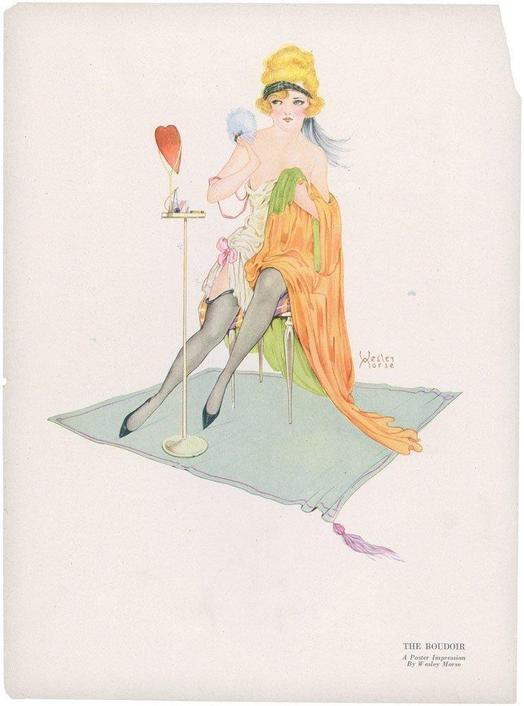 1920s WESLEY MORSE Print-Risque Art Deco Boudoir Girl