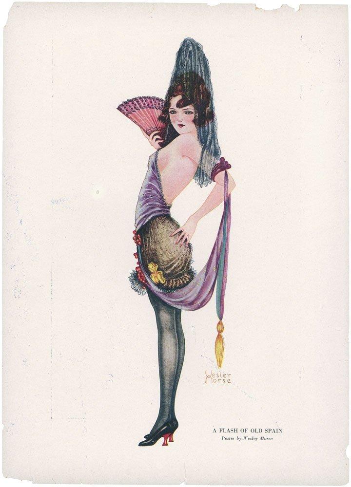 1920s WESLEY MORSE Print-Art Deco Risque Girl Senorita