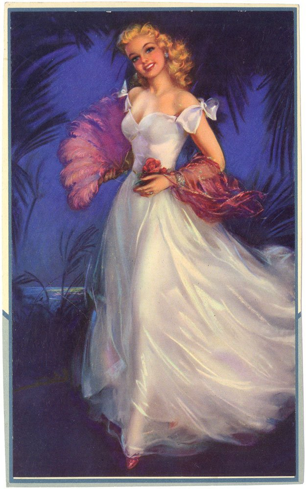1950s Pin-Up ERBIT Young Girl with Feather Fan-Embossed