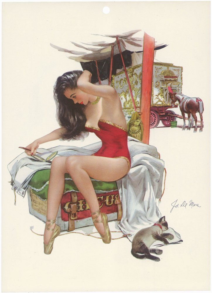 1948 Risque Circus Pin-Up DE MERS-Sexy Horse Performer