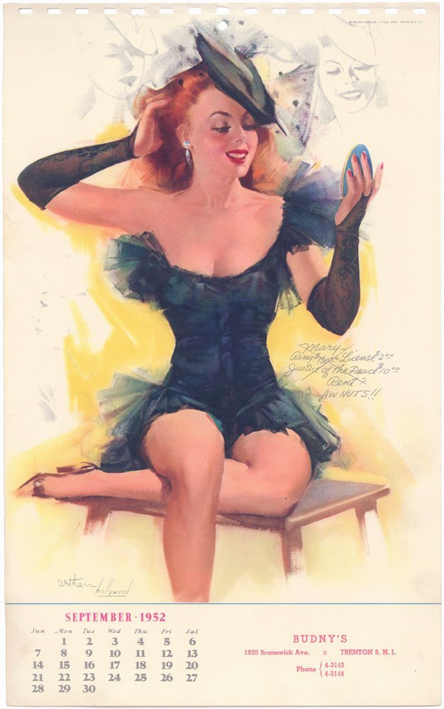 1952 Pin-Up WITHERS HOLLYWOOD - Risque Redhead Mary