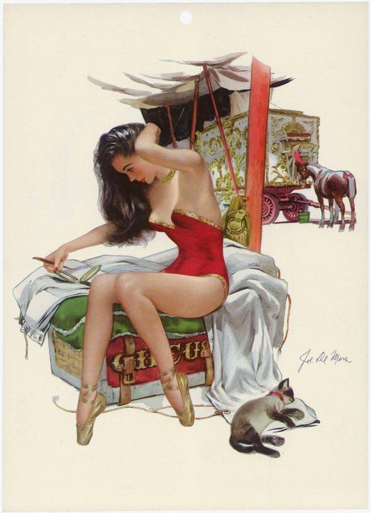 1948 Risque Circus Pin-Up DE MERS-Sexy Horse Performer