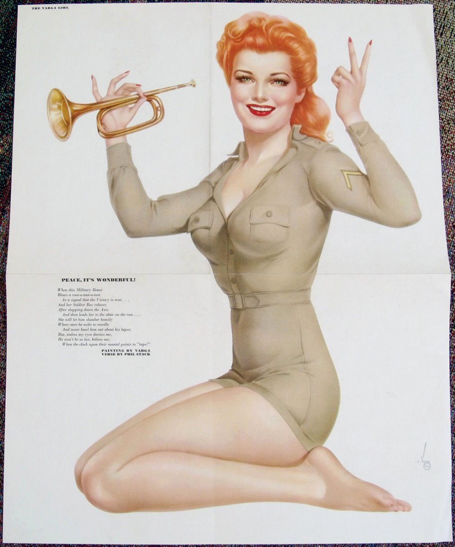 1940s WWII VARGA Pin-Up - Peace - Victory Redhead