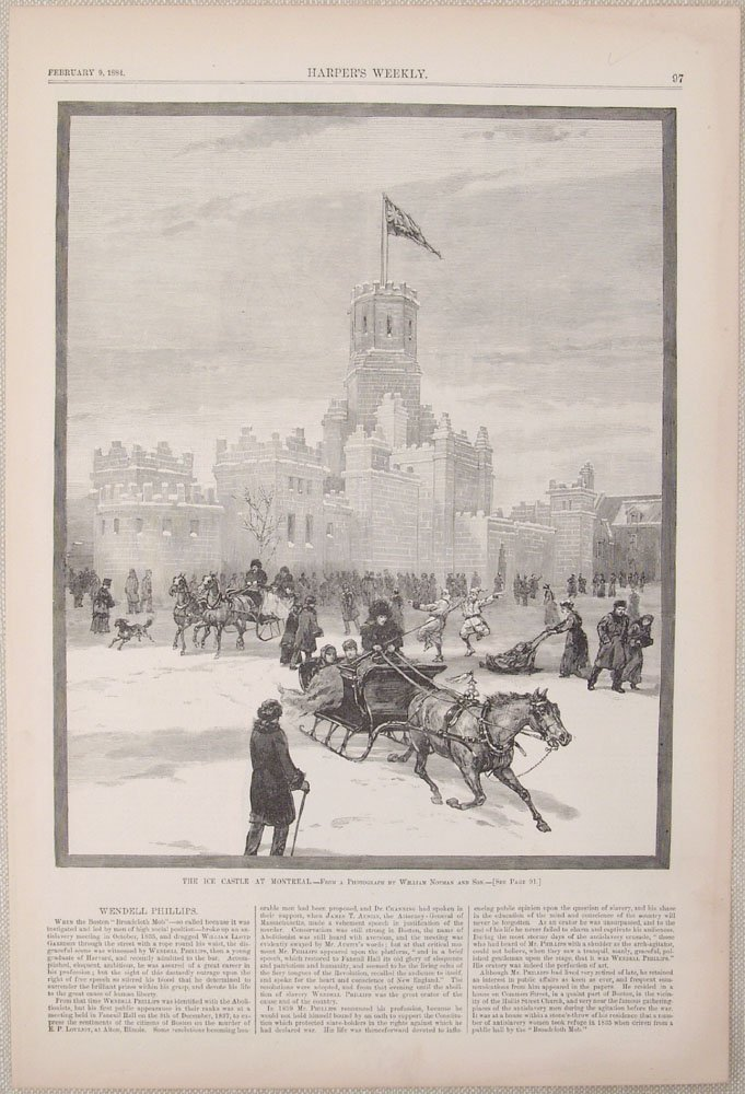 1884 Harpers Weekly Engraving ICE CASTLE AT MONTREAL
