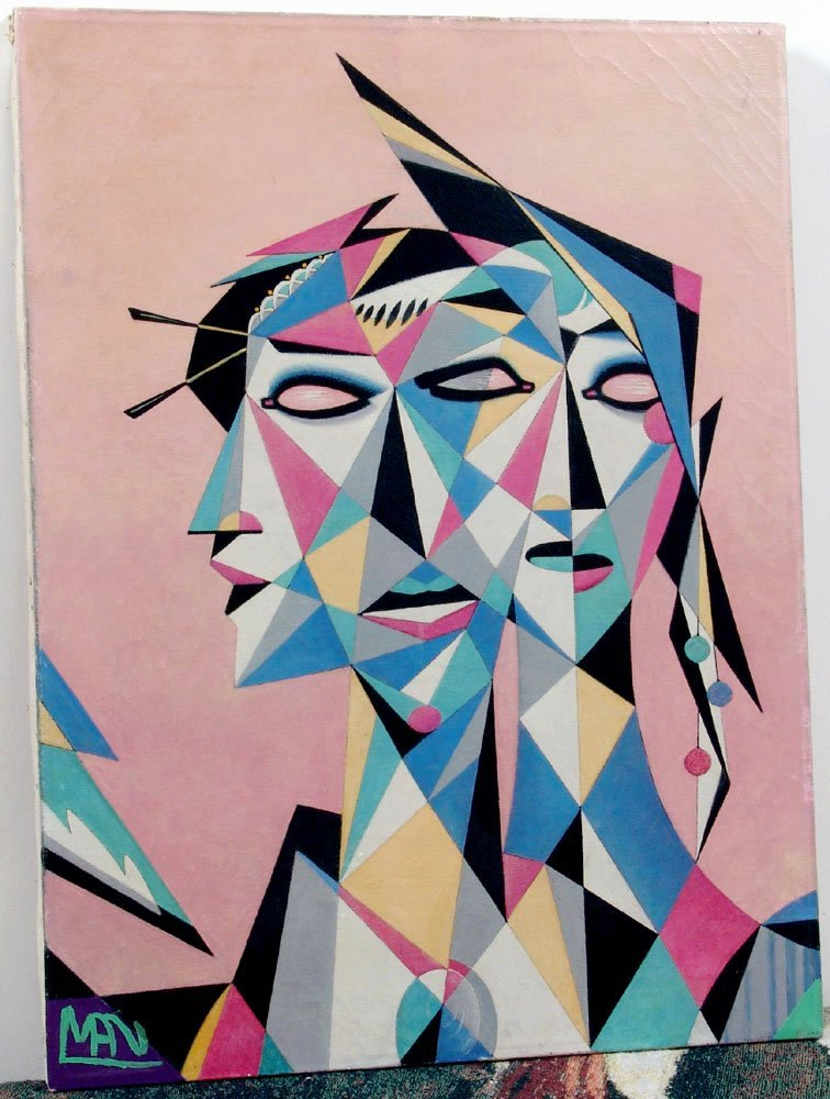 Cool 1950s Oil Painting Abstract Cubist Heads FREE SHIP