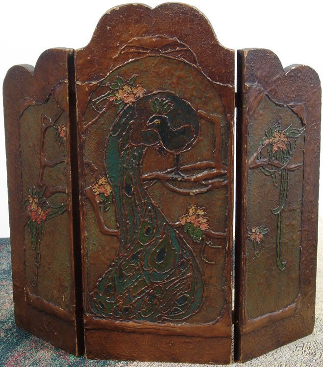 Old Art Nouveau Peacock Triptych Screen Arts & Crafts