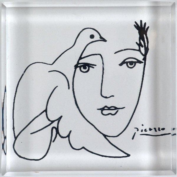 Vintage Original PICASSO Acrylic Art Woman & Dove 1970s
