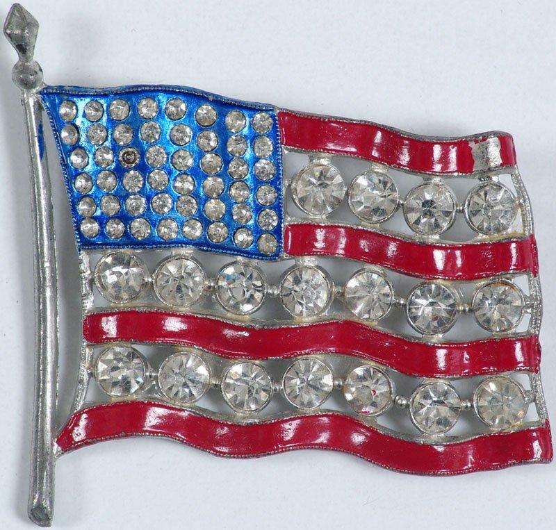 Lg Rare Deco US FLAG Pin Rhinestones Red White and Blue