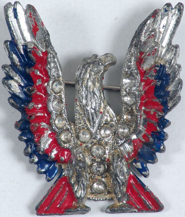 Rare Deco Pin EAGLE Rhinestones Red White Blue