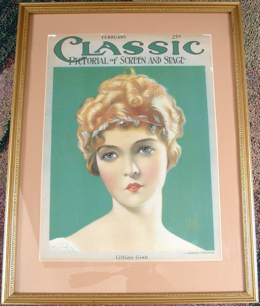 Framed Vintage 1924 LILLIAN GISH Glamor Pinup by Dahl