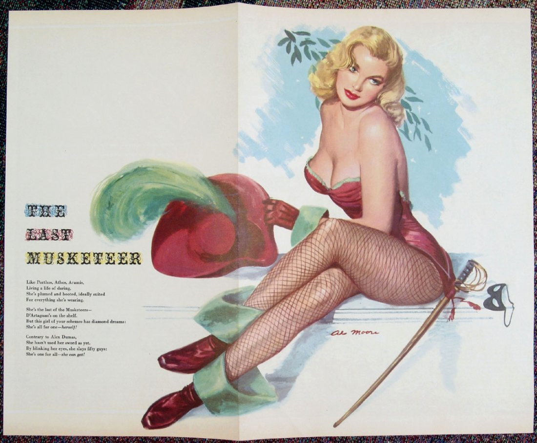1940s WWII MOORE Pinup - Risque Blonde Musketeer