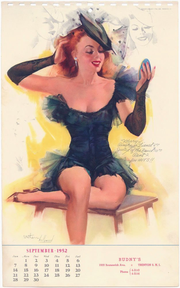 1952 Pinup WITHERS HOLLYWOOD - Risque Redhead Mary