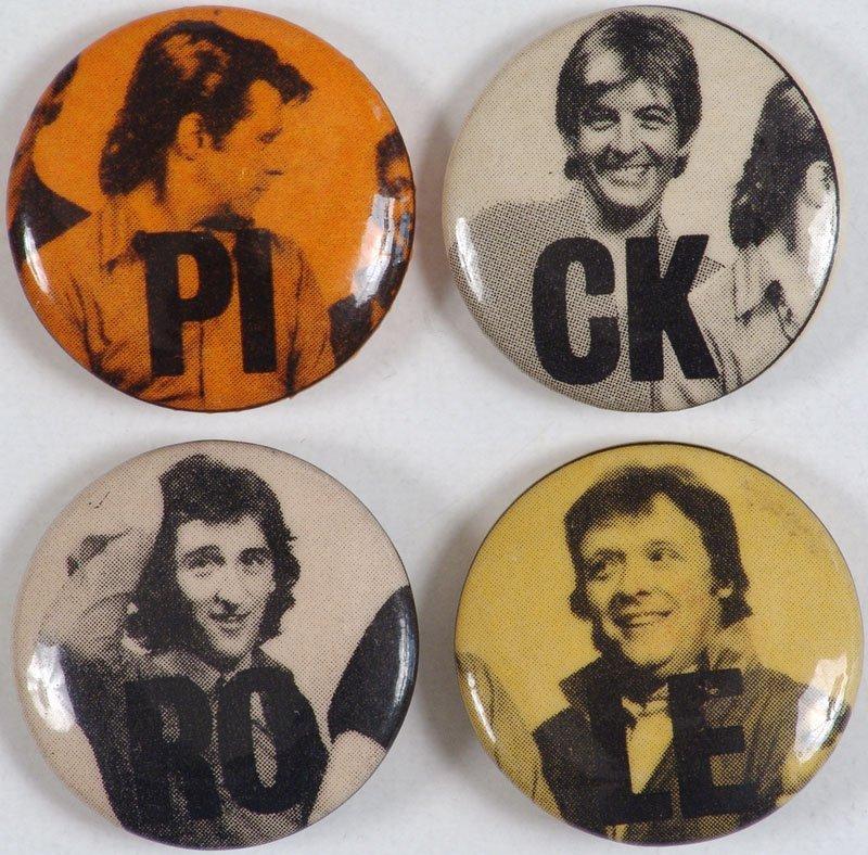 Set of Four Vintage Promo Buttons Rock Group ROCKPILE