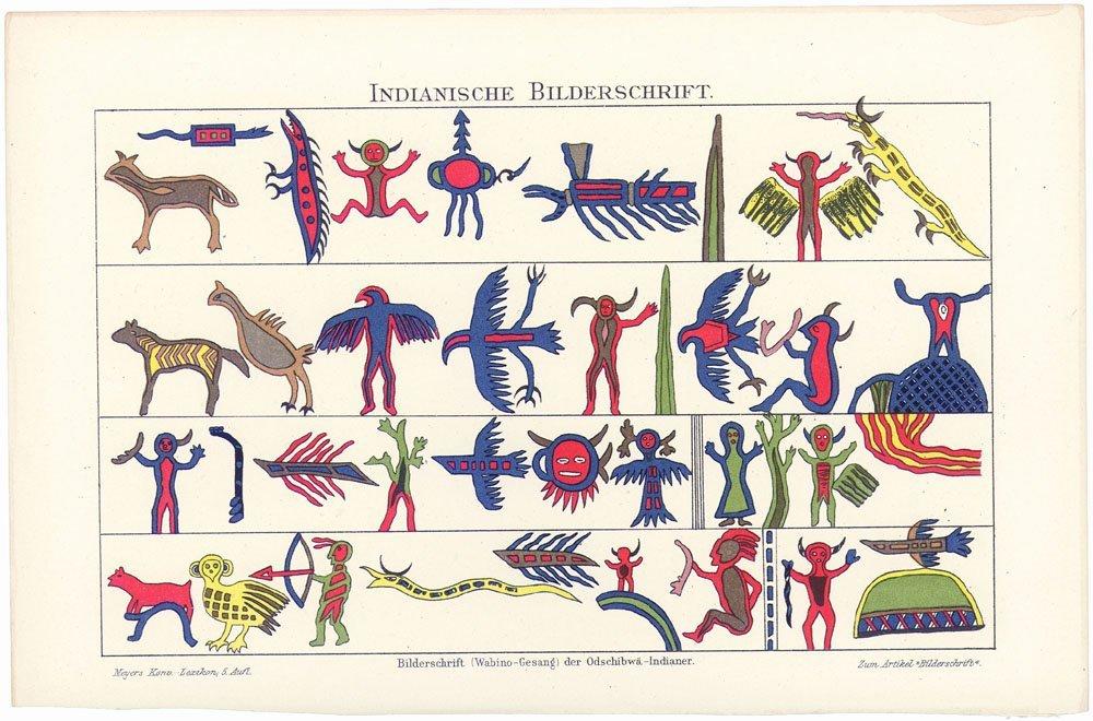 19C German Print Ojibwa American Indian Picture Writing