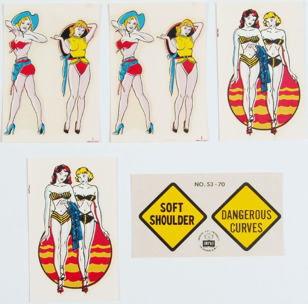 Lot 5 Old 1950s GIRLIE Decals Bikinis & Cowgirls +IMPKO