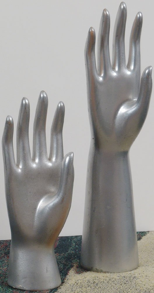Two Vintage Jewelry Display HANDS c1950s Silver Clay