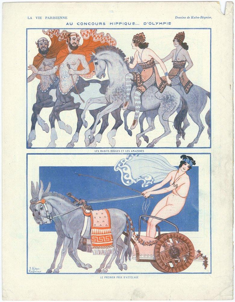 LA VIE PARISIENNE Nude Amazons in Chariot, on Horseback