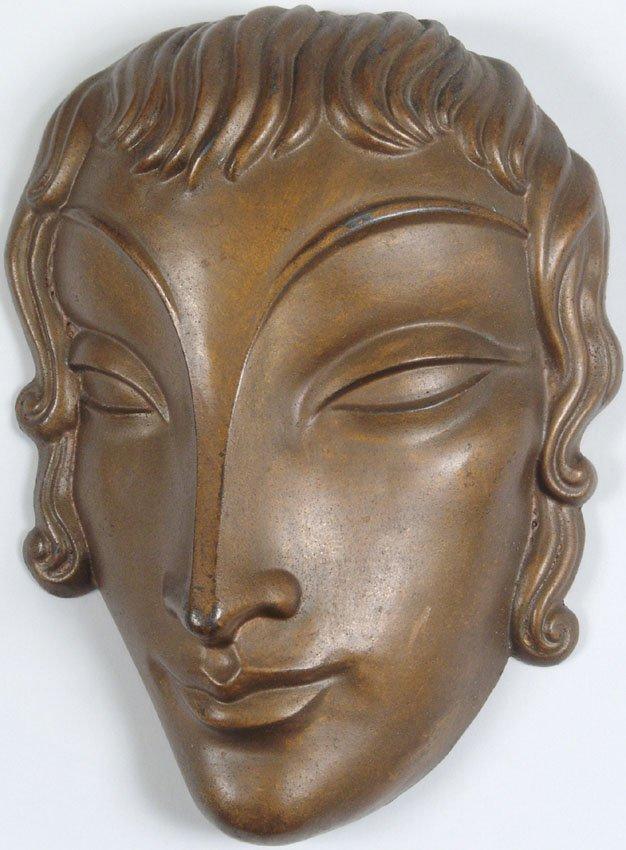 Rare 1920s Art Deco Girl Head Metal Wall Sculpture