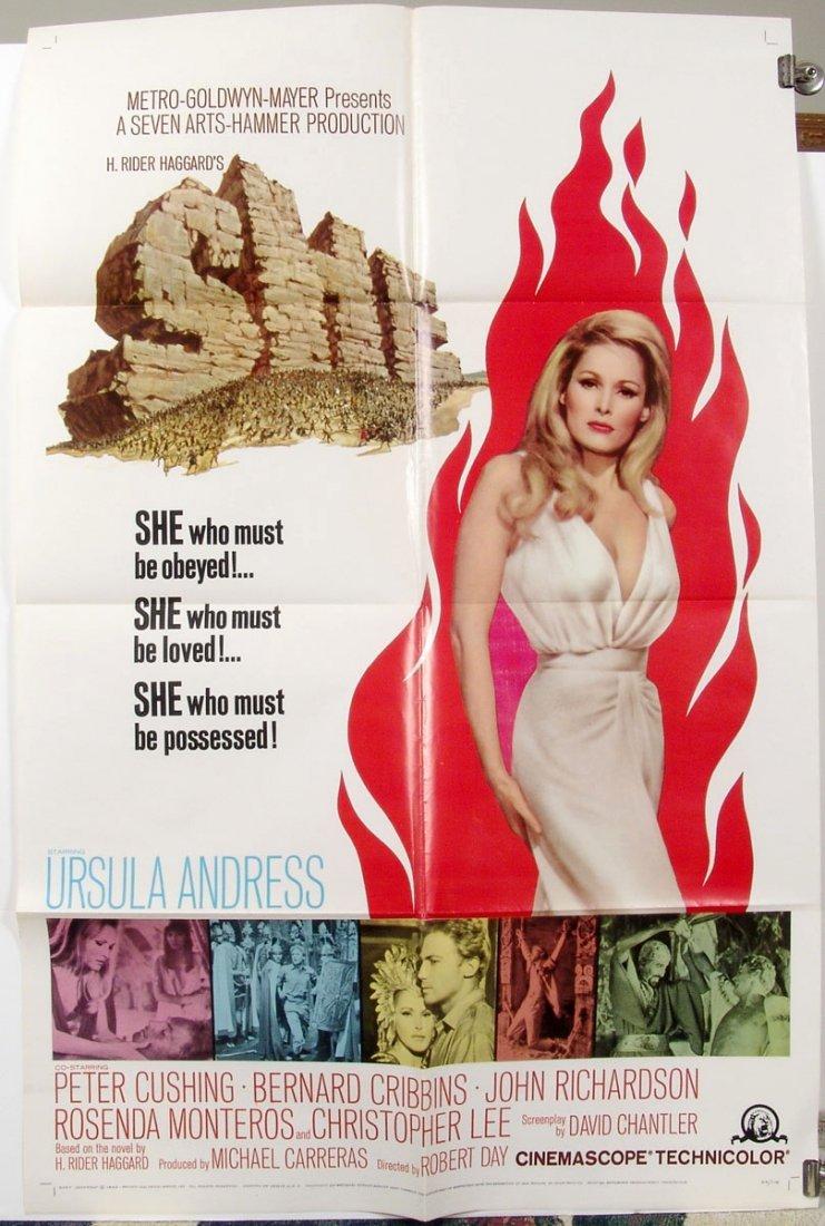 Original SHE '65 US 1 Sheet Movie Poster Ursula Andress