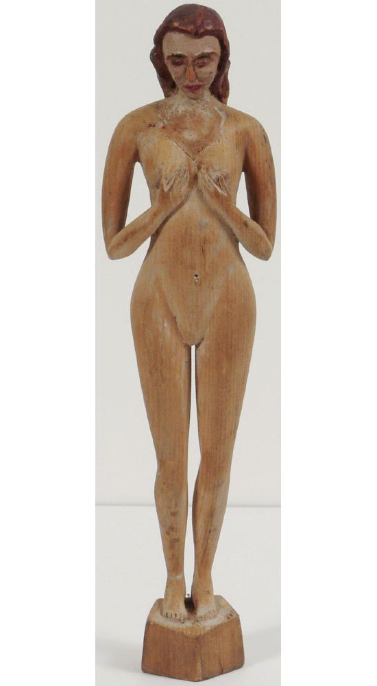 Old Nude Wood Carving Statue Hand Carved Primitive
