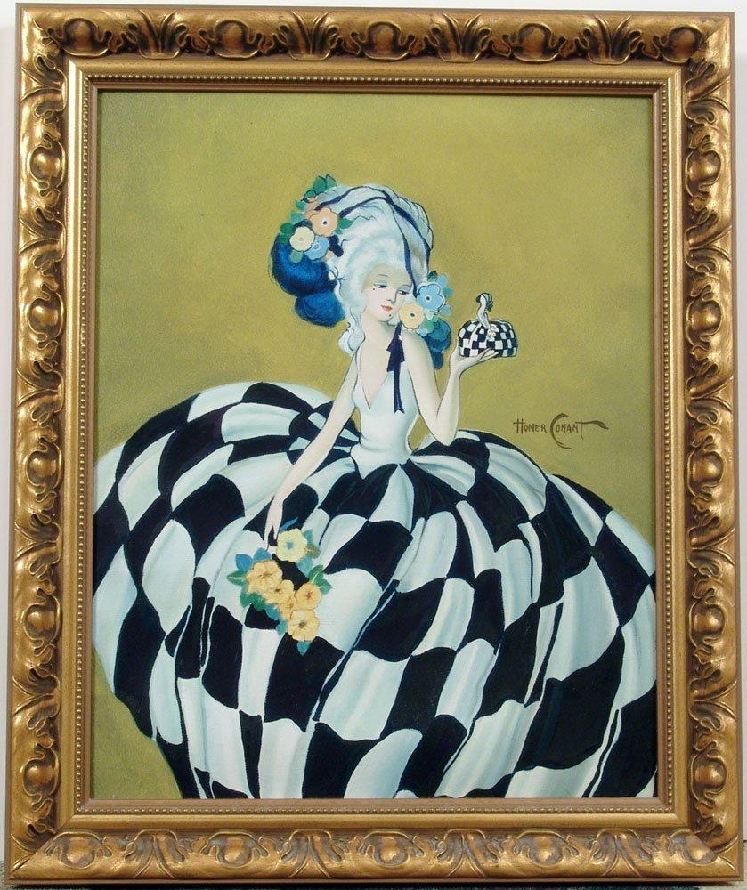 Framed Orig Oil Based on HOMER CONANT Marie Antoinette