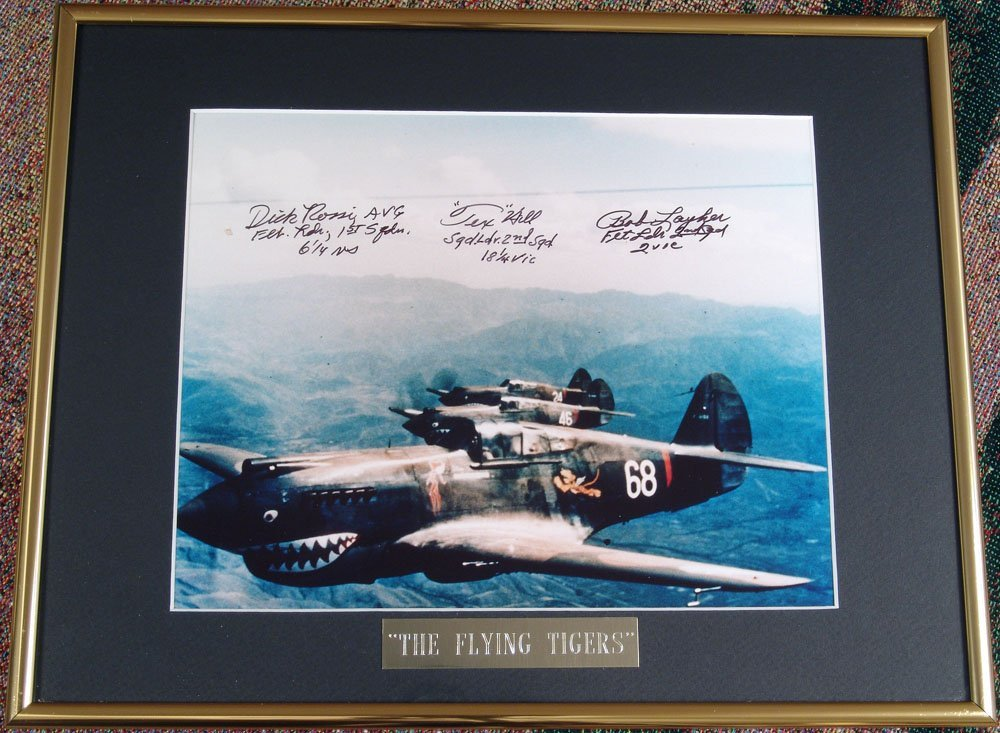 Framed FLYING TIGERS WWII Signed Photo Ready to Display