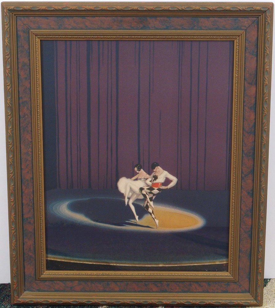 Rare 1920s DECO DANCERS Print Harlequin & Ballerina