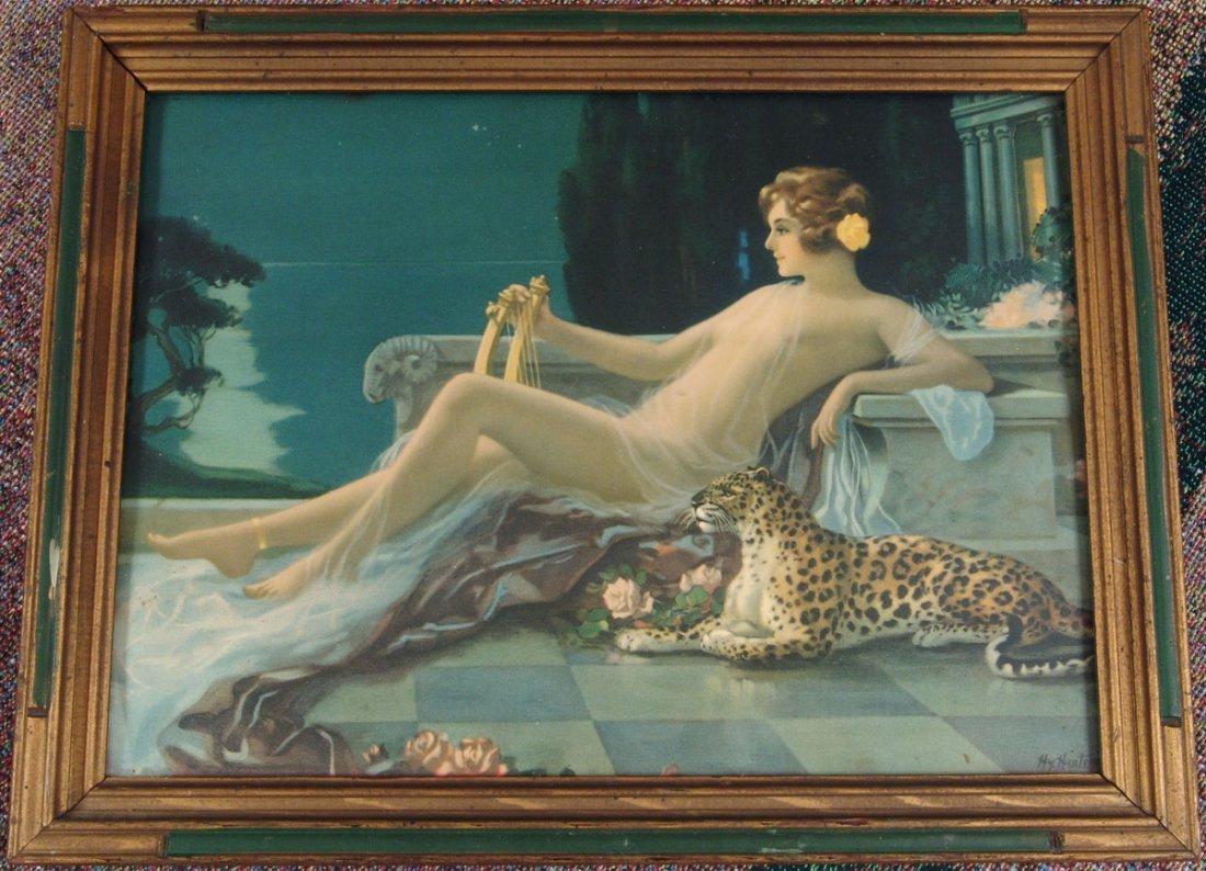 Old HINTERMEISTER Nude Girl Print in Art Deco Frame