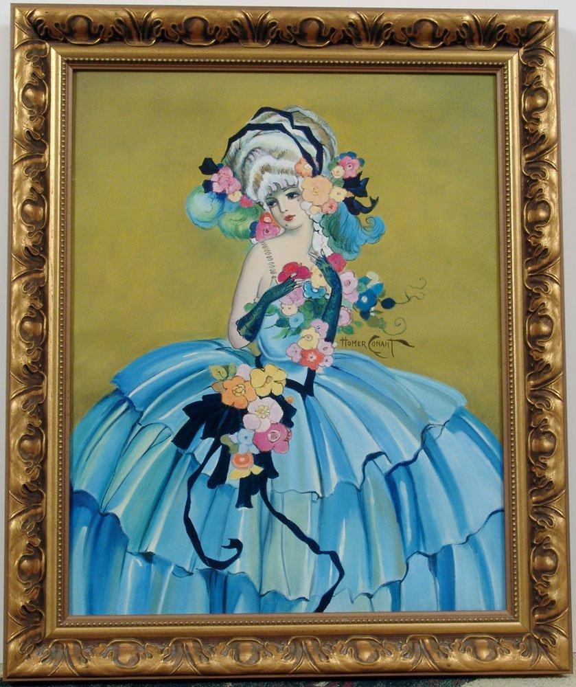 Framed Orig Oil Painting Based on CONANT Lady Pompadour