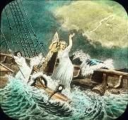 Three Circa 1900 Lantern Slides ROCK OF AGES Shipwreck