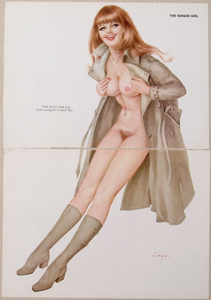 Old VARGAS Pin-Up NUDE REDHEAD IN RAINCOAT