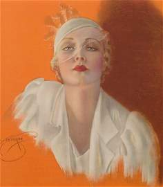 Framed Vintage 1930s DEVORSS Glamor Pin-Up SHOW GIRL