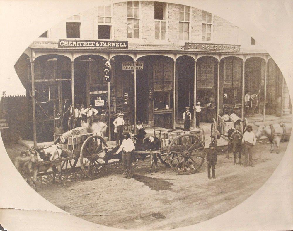 Vintage 1859 Photograph MN Hardware Store Oxen & Carts
